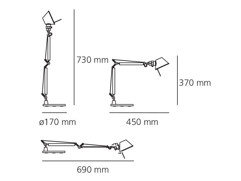 artemide tolomeo micro tavolo alluminio brillante. Black Bedroom Furniture Sets. Home Design Ideas